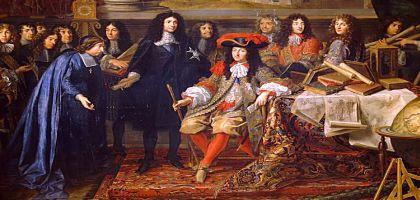 Colbert présente à Louis XIV les membres de l'Académie royale des sciences en 1667