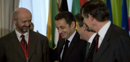 Brice Lalonde, Nicolas Sarkozy, Jean-Louis Borloo et Jean-Pierre Jouyet au Major Economies Meeting on Energy and Climate Change (MEM) de Paris le 18 avril 2008